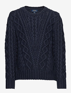 Aran-Knit Cotton-Blend Sweater - trøjer - navy heather