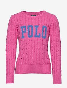 Logo Cable-Knit Cotton Sweater - knitwear - baja pink