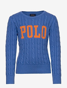 Logo Cable-Knit Cotton Sweater - HARBOR ISLAND BLU