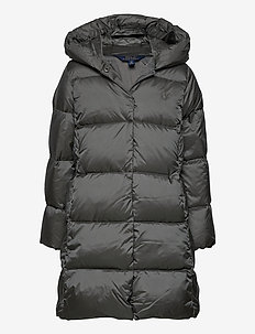 Quilted Hooded Down Coat - puffer & padded - magnum grey