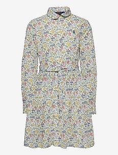 PRINTED COTTON POPL-LS SHIRTDRES-DR - robes - white multi