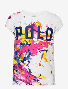 Paint-Splatter Logo Cotton Jersey Tee - À manches courtes - white multi