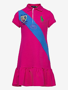 Banner-Stripe Cotton Mesh Polo Dress - robes - accent pink