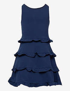 Ruffled Cotton Jersey Dress - dresses - french navy