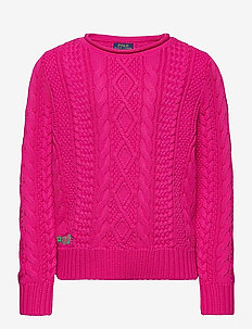 Aran-Knit Cotton Sweater - habits tricotés - accent pink