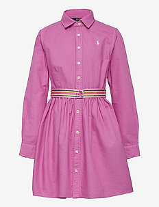 Belted Cotton Oxford Shirtdress - robes - resort rose