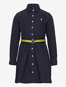 Belted Cotton Oxford Shirtdress - dresses - rl navy