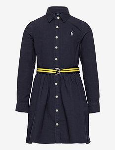 Belted Cotton Oxford Shirtdress - robes - rl navy