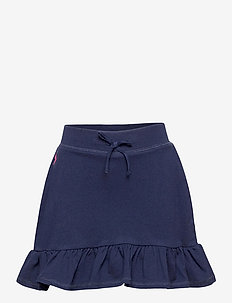 Ruffled Stretch Mesh Skort - skirts - french navy/hint
