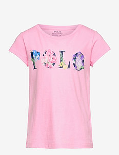 Floral-Logo Cotton Jersey Tee - short-sleeved - carmel pink
