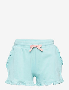 Ruffled Cotton Jersey Short - shorts - turquoise cloud