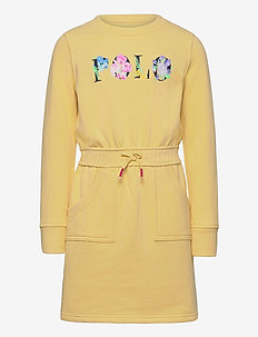Floral Logo Fleece Dress - banana peel