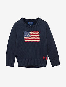 Flag Cotton Crewneck Sweater - HUNTER NAVY