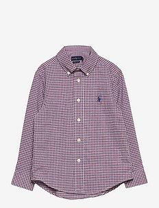 Plaid Cotton Poplin Shirt - chemises - red/blue