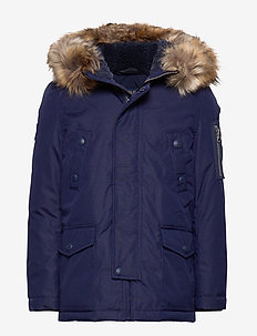 Faux Fur–Trim Down Parka - FRENCH NAVY