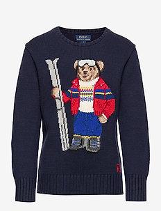 Ski Bear Cotton-Blend Sweater - RL NAVY