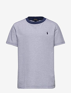 Striped Cotton-Blend Tee - logo - federal blue