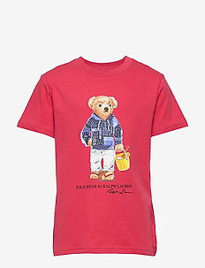 Diving Bear Cotton Jersey Tee - SUNRISE RED