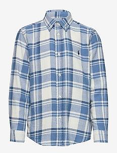 Plaid Cotton Twill Shirt - chemises - white/light blue