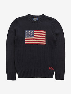 Flag Cotton Crewneck Sweater - habits tricotés - hunter navy