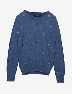 Embroidered Cotton Sweater - MEDIUM INDIGO HEA