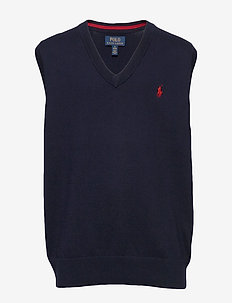Cotton V-Neck Sweater Vest - RL NAVY