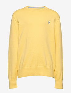 Cotton Crewneck Sweater - dzianinowe - oasis yellow
