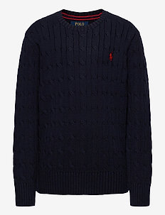 Cable-Knit Cotton Sweater - habits tricotés - rl navy