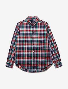 Plaid Stretch Cotton Shirt - RED MULTI