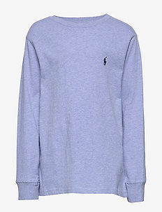 Cotton Jersey Crewneck T-Shirt - langermede t-skjorter - cobalt heather