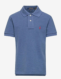 Slim Fit Cotton Mesh Polo - royal heather