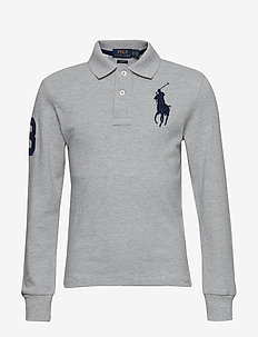 Slim Fit Cotton Mesh Polo - LT GREY HEATHER