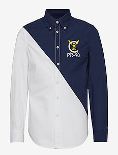 Color-Blocked Cotton Shirt - NEWPORT NAVY/WHIT