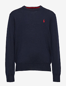 Merino Wool Crewneck Sweater - NAVY