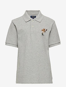 Rugby Bear Cotton Mesh Polo - LT GREY HEATHER