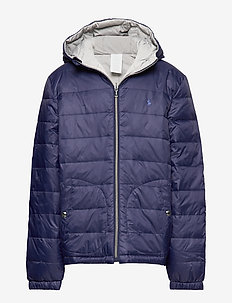 Reversible Quilted Down Jacket - puffer & padded - french navy/grey