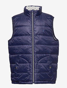 Reversible Quilted Down Vest - vests - french navy/grey