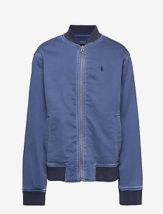 Stretch Cotton Baseball Jacket - FEDERAL BLUE