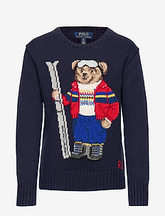 Ski Bear Cotton-Blend Sweater - RL NAVY