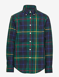 Plaid Cotton Poplin Shirt - GREEN/NAVY MULTI
