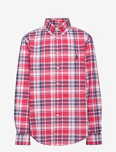 Plaid Cotton Poplin Shirt - overhemden - red/white