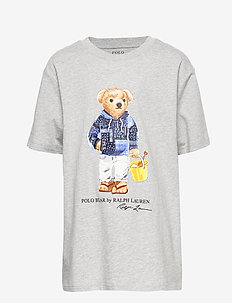 Beach Bear Cotton Tee - LIGHT GREY HEATHE
