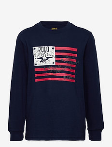 Cotton Jersey Graphic Tee - long-sleeved t-shirts - newport navy