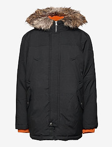 Faux-Fur-Trim Down Parka - parkas - polo black
