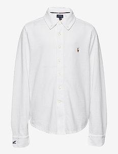 Knit Cotton Oxford Shirt - koszule - white