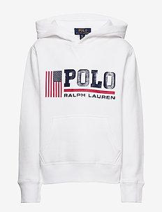 Flag Logo Fleece Hoodie - hoodies - white
