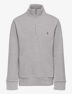 Cotton Mesh Quarter-Zip Pullover - strickmode - andover heather