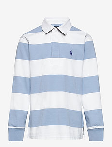 Striped Cotton Jersey Rugby Shirt - long-sleeved t-shirts - chambray blue/cls