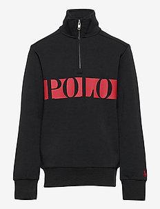 Logo Double-Knit Quarter-Zip Sweatshirt - sweat-shirt - polo black