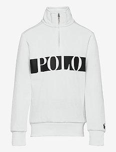 Logo Double-Knit Quarter-Zip Sweatshirt - sweatshirts - white